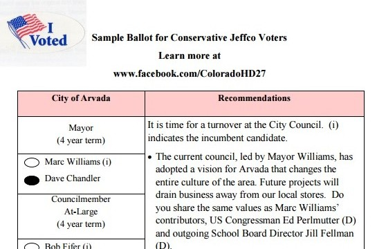 2015 Arvada Conservative Sample Ballot