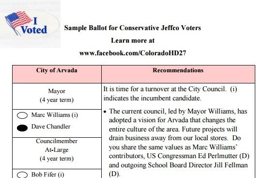 2015 Arvada Conservative Sample Ballot